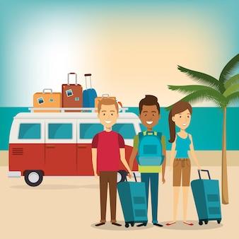 Przyjaciele na wakacjach na plaży