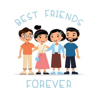 Przyjaciele na wieczność. cztery azjatykcie młodych kobiet i młodych człowieków przyjaciół ściskać. zabawna postać z kreskówki.