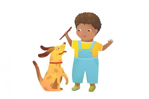 Przyjaciele na zawsze chłopiec i szczeniak pies dziecko clipartów kreskówka