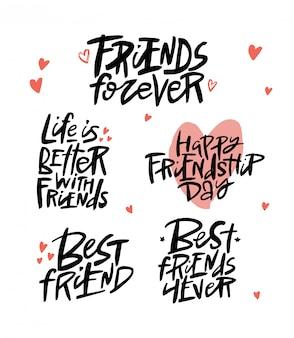 Przyjaciele na zawsze pędzlem napis