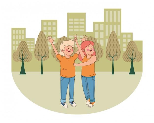 Przyjaciele nastolatków, uśmiechając się i zabawy kreskówki