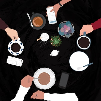 Przyjaciele o napoje w kawiarni