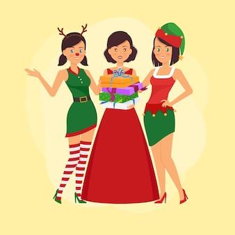 Przyjaciele obchodzą święta w strojach świątecznych