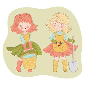 Przyjaciele ogrodowe kobieta ogrodnictwo pielęgnacja wektor