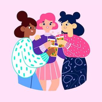 Przyjaciele opiekania razem