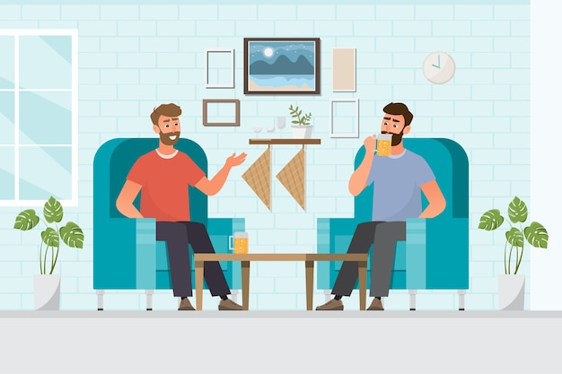 Przyjaciele, picie piwa w domu, relaks, ilustracja, płaska konstrukcja postać z kreskówki