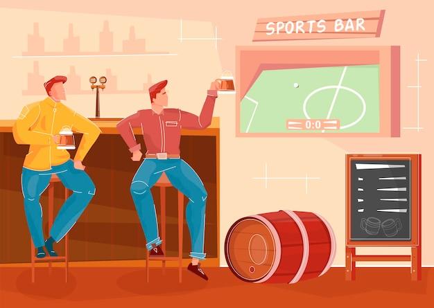 Przyjaciele piją piwo i oglądają mecz piłki nożnej w pubie