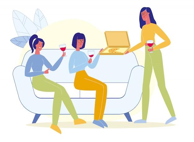 Przyjaciele piją wino, jedzą pizzę na płasko