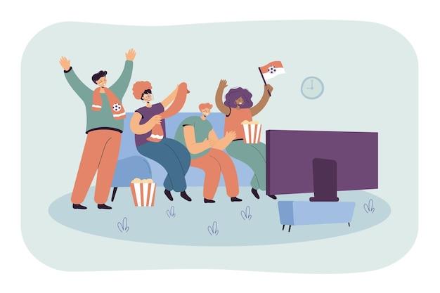 Przyjaciele razem oglądający piłkę nożną lub piłkę nożną w telewizji. płaska ilustracja.