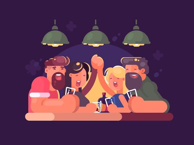 Przyjaciele relaksujący się wieczorem w barze. ilustracja wektorowa