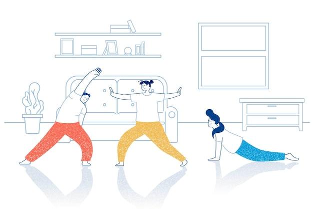 Przyjaciele robią ćwiczenia fitness w domu