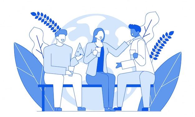 Przyjaciele rozmawiają nowoczesne postacie z kreskówek