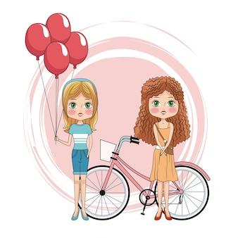 Przyjaciele Słodkie Dziewczyny Premium Wektorów