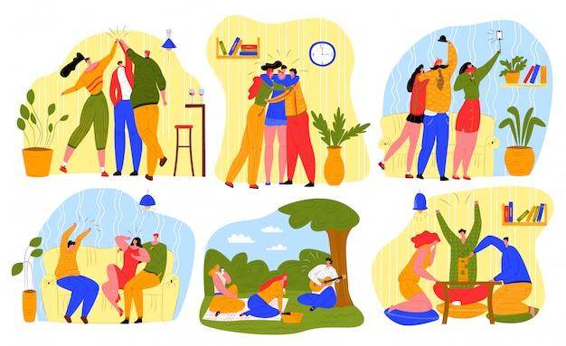 Przyjaciele spędzają czas razem zestaw ilustracji, kreskówka szczęśliwy mężczyzna kobieta młode postacie, aktywni ludzie bawią się na białym tle