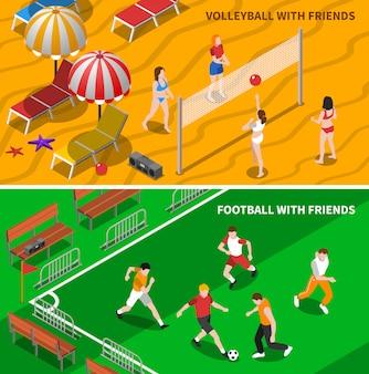 Przyjaciele sportowe izometryczne banery