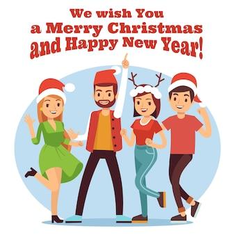 Przyjaciele świętują boże narodzenie. wesołych świąt bożego narodzenia i nowego roku