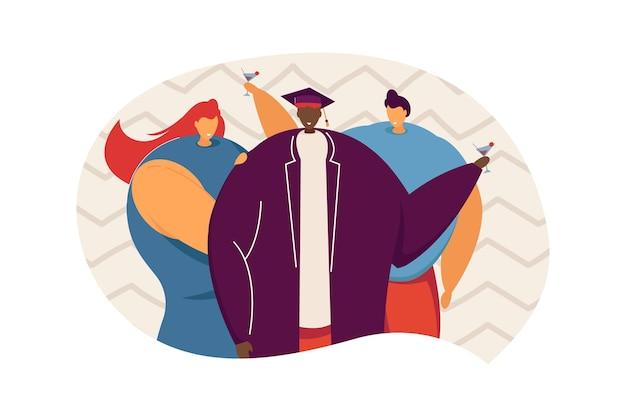 Przyjaciele świętują ukończenie szkoły i piją koktajle. młody człowiek w graduacyjnej kapelusz płaskie wektor ilustracja. ukończenie szkoły, uroczystość, koncepcja uniwersytetu na baner, projekt strony internetowej lub stronę docelową