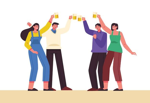 Przyjaciele wznosi toast wpólnie ilustracyjnego pojęcie
