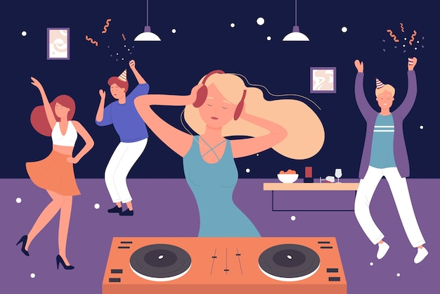 Przyjaciele z kreskówek ludzie słuchają muzyki dj i tańczą, bawią się i wesoło tańczą