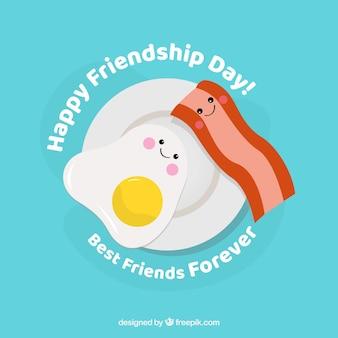 Przyjaźń dnia tło z kreskówki jedzeniem