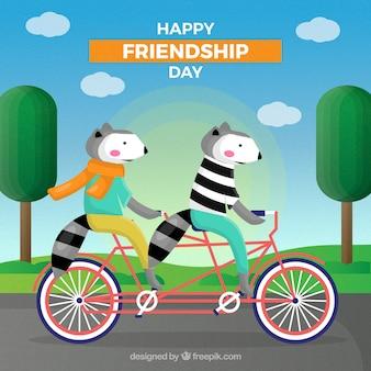 Przyjaźń dnia tło z uroczymi zwierzętami w bicyklu