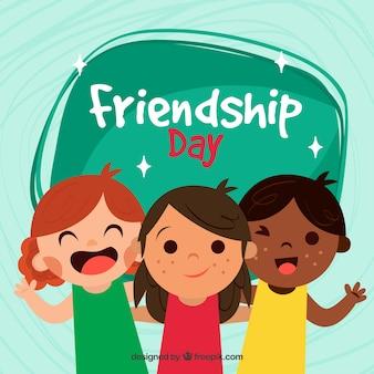 Przyjaźń dzień tła z trójką dzieci