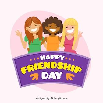 Przyjaźń dzień tle z uśmiechniętych dziewcząt