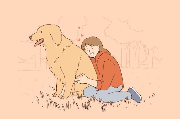 Przyjaźń koncepcja dzieci i zwierząt domowych