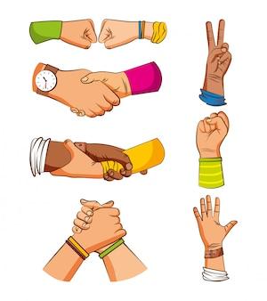 Przyjaźń ręce znaki pozdrowienia rysunki