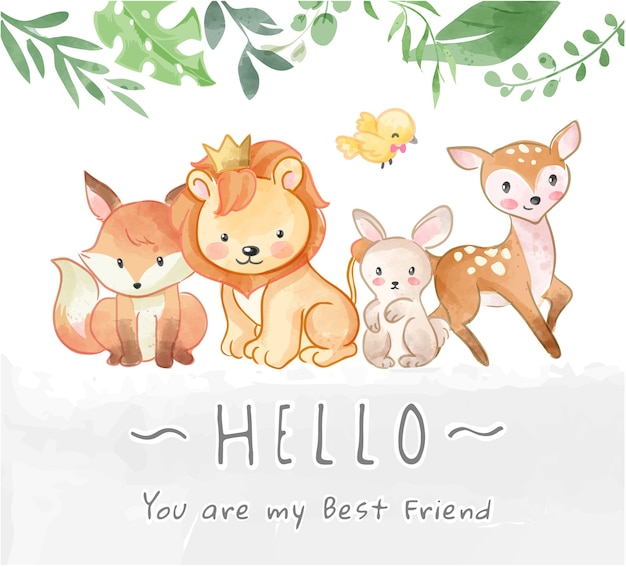 Przyjaźń słodkie dzikie zwierzęta i ilustracja hello