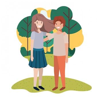 Przyjazna para nastolatków w parku