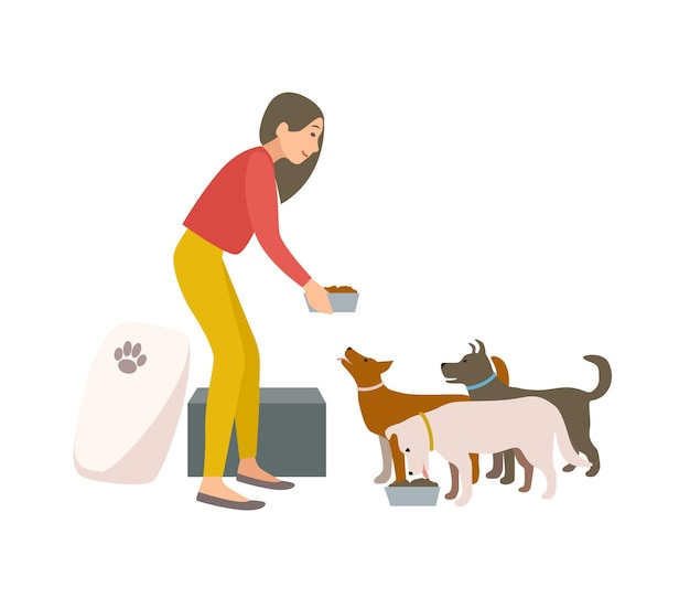 Przyjazna wolontariuszka karmiąca psy w schronisku lub funcie. młoda kobieta daje jedzenie bezdomnym szczeniętom na białym tle. kolorowa ilustracja wektorowa w stylu płaskiej kreskówki