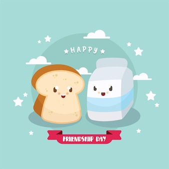 Przyjaźni tło z słodkie jedzenie ilustracja