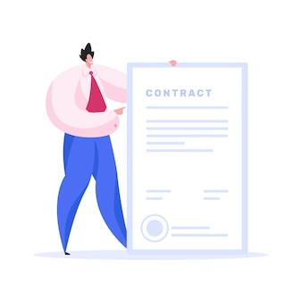 Przyjazny biznesmen pokazując podpisaną umowę. płaska ilustracja
