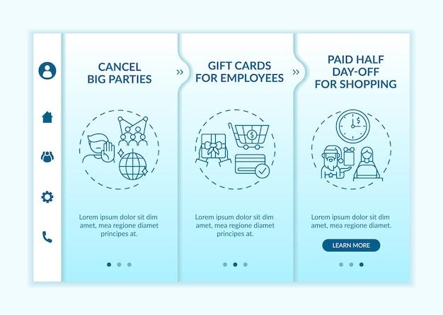 Przyjazny dla firmy covid szablon dołączania do wydarzeń świątecznych w biurze. odwołanie dużych wydarzeń. karty podarunkowe. responsywna witryna mobilna z ikonami. ekrany krok po kroku strony internetowej. koncepcja kolorów rgb