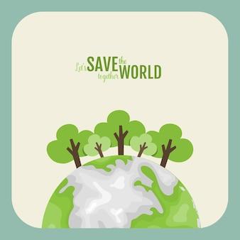 Przyjazny dla środowiska. pojęcie ekologii z green eco earth i drzewami. ilustracja.