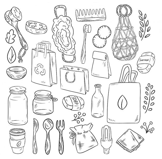 Przyjazny dla środowiska zestaw doodli. ekologiczna i bezodpadowa zbiórka przedmiotów. zzielenieć