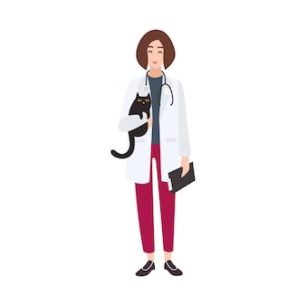 Przyjazny lekarz weterynarii, weterynarz lub weterynarz ubrany w biały fartuch i trzymający kota.