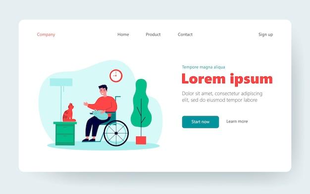 Przyjazny niepełnosprawny facet trzymający koty. osoba na wózku inwalidzkim, zwierzęta domowe, płaskie wektor ilustracja do domu. niepełnosprawność, opieka nad zwierzętami, koncepcja terapii na baner, projekt strony internetowej lub strona docelowa
