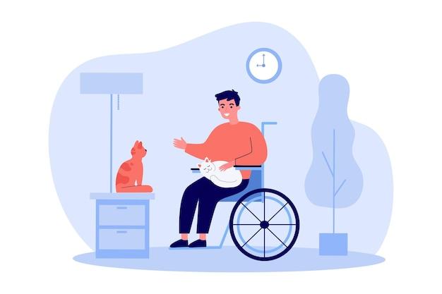 Przyjazny niepełnosprawny facet trzymający koty