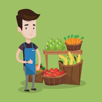 Przyjazny pracownik supermarketu.