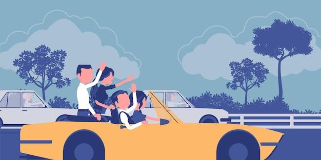 Przyjazny zespół szybko jedzie pierwszy. grupa młodych szczęśliwych ludzi jazdy samochodem prędkości, koledzy pracują dobrze osiągając razem wynik biznesowy, pracę zespołową i przyjaźń.