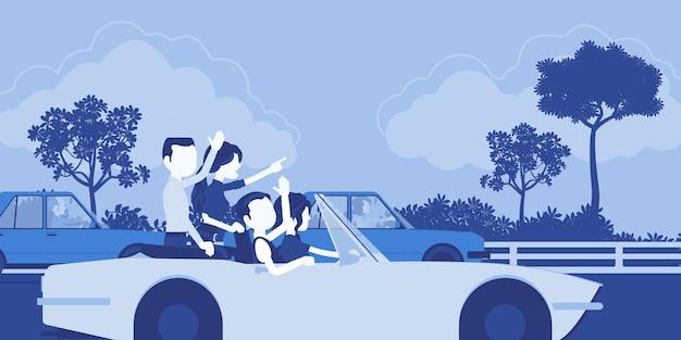 Przyjazny zespół szybko jedzie pierwszy. grupa młodych szczęśliwych ludzi jazdy szybkim samochodem, koledzy pracują dobrze osiągając razem wynik biznesowy, pracę zespołową i przyjaźń. ilustracja wektorowa, postacie bez twarzy