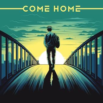 Przyjdź do domu ilustracji