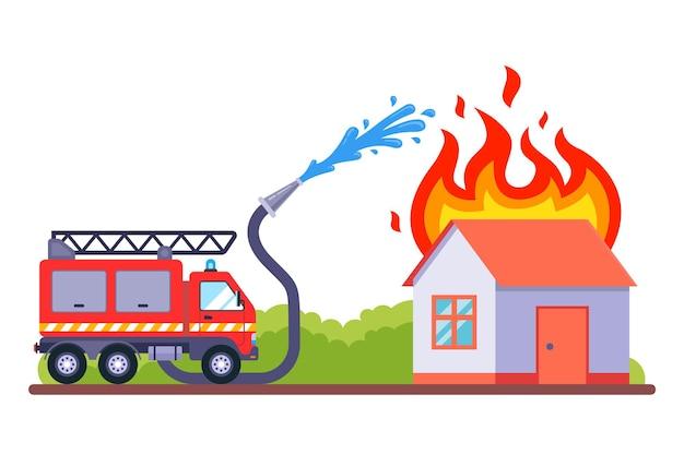 Przyjechała straż pożarna, aby ugasić pożar. płonący dom gasi się wodą. ilustracja wektorowa płaskie.