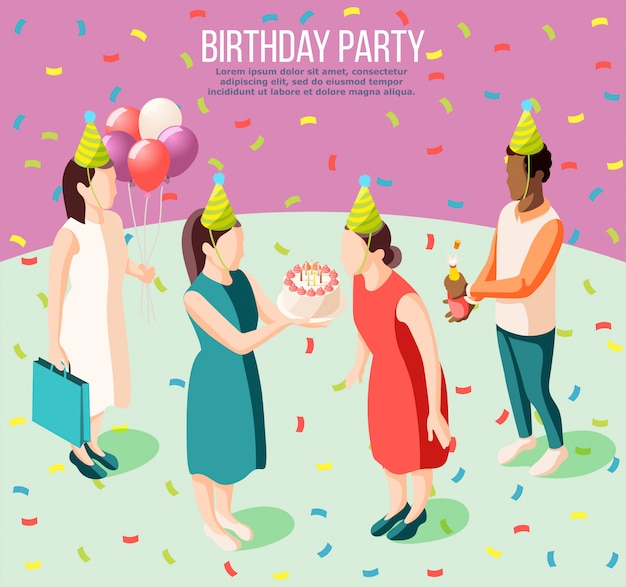 Przyjęcia urodzinowego isometric plakat ilustrował dziewczyny dmucha urodzinowe świeczki i jej przyjaciele daje teraźniejszość ilustracyjnym