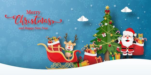 Przyjęcie bożonarodzeniowe z mikołajem i reniferem. wesołych świąt i szczęśliwego nowego roku kartkę z życzeniami