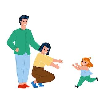 Przyjęcie dziecko młody mężczyzna i kobieta rodzice wektor. nowy ojciec i matka córka dziecko przyjęcie, szczęśliwe dziecko dziewczyna biega do mamy objąć. postacie, rodzicielstwo i opieka nad dziećmi, płaska ilustracja kreskówka