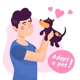 Przyjęcie koncepcji zwierzaka z psem i mężczyzną