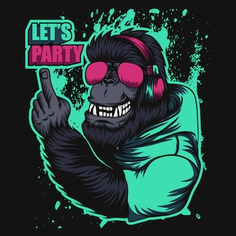 Przyjęcie słuchawkowe goryla